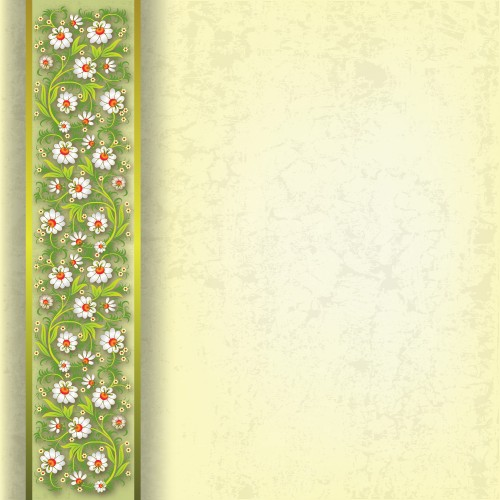 abstract spring floral ornament on grunge beige background